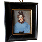 Folk Art Miniature Painting of Lady in Blue Dress with Fancy Hair Do