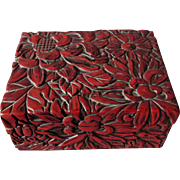 Antique Japanese Tsuishu Lacquer Ware Box with Floral Motif