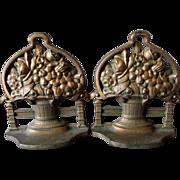 Lovely Art Nouveau, Art Deco Flower Basket Bookends