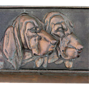 Big Antique Architectural Plaque of 3 Hound Dogs, Bloodhounds