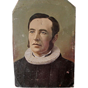 Unusual Full Plate Colored Tintype of Gentleman in Elizabethan Lace Collar