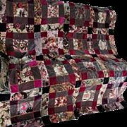 Lovely c1910-20s Velvet Tapestry Quilt Top