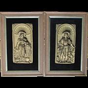 Pair Antique Victorian Repousse Plaque of Renaissance Couple