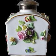 Antique Floral Embellished Meissen Porcelain Perfume Bottle, Tea Caddy