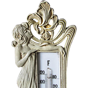 Lovely Art Nouveau Desk Thermometer, Lady in Long Gown