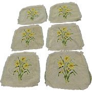 6 Circa 1930s Needlepoint Seat Covers with Daffodil Flowers