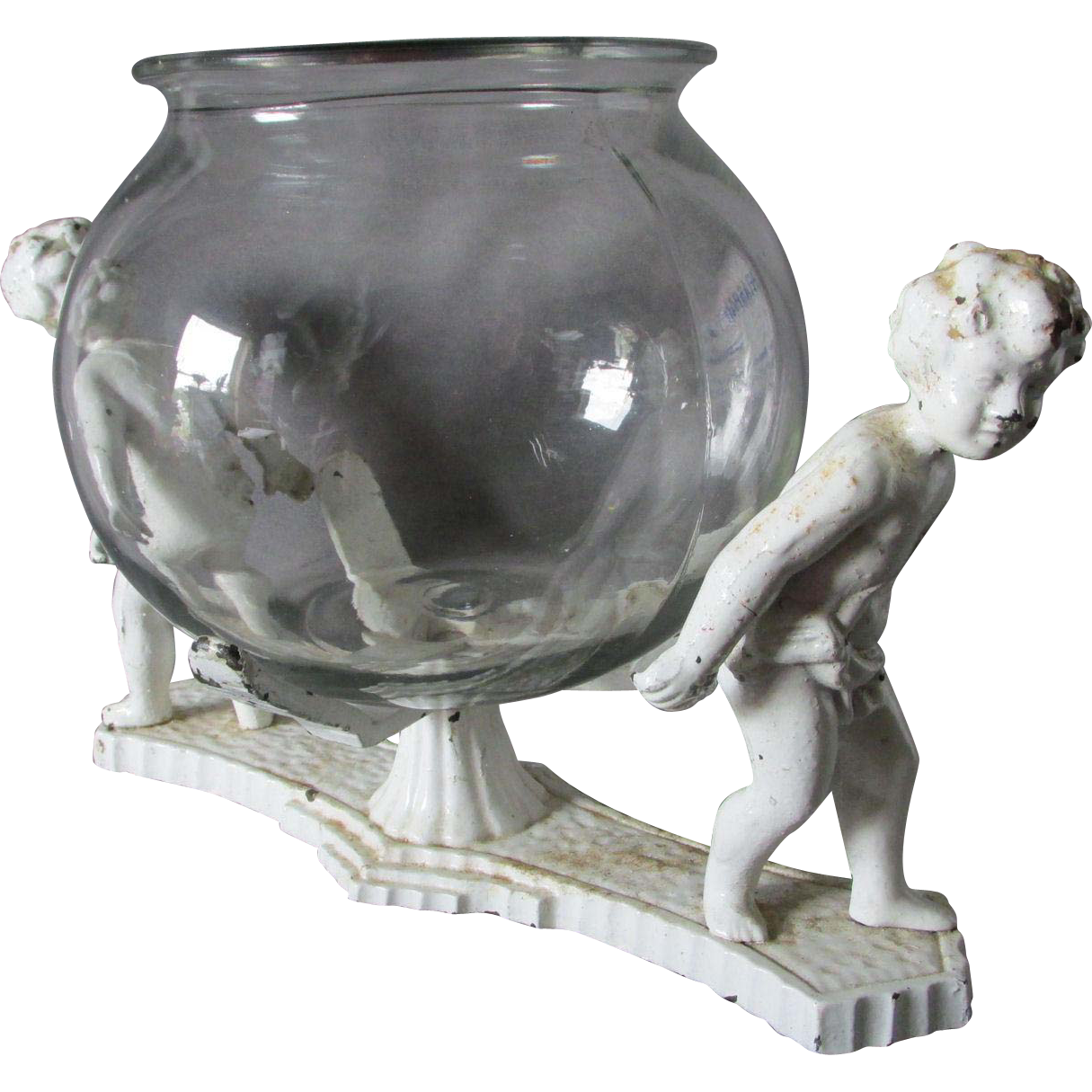Rare c1920s art deco fish bowl stand with cherub angels for Fish bowl stand