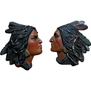 Pair c1900 Native American Indian Plaques, Tobacco Shop Accessory