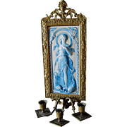 c1880 Victorian Candle Sconce with French Faience Tile, Lady & Dolphins