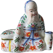 19thC Staffordshire Chinoiserie Inkwell of an Asian Man