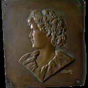 Antique Bronze Plaque of Young Boy, Signed K P Beattie