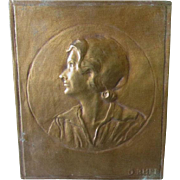 Antique Dore, Gilt Bronze Plaque of Woman, Signed D Rhee