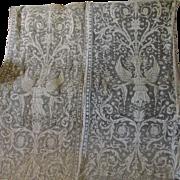 Rare Set of 33 Edwardian Lace Curtain Panels with Angels,  Renaissance