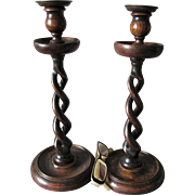 Pair Tall Antique English Treen Wood Barley Twist Candlesticks