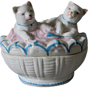 c1880 Victorian Staffordshire Fairing Box of 2 Cats, Kittens