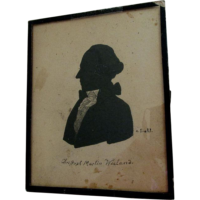 19thC Silhouette of German Poet & Writer Christoph Wieland