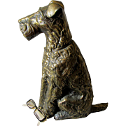 Adorable c1920s Art Deco Figural Terrier Dog Fireplace Tool Set