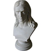 19thC Parian Porcelain Bust of German Poet, Translator Friedrich Rückert