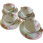 4 Lovely Haviland Limoge Bouillon Cups, Plates, Hand Painted Sea Shell Motif