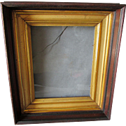 c1870s Victorian Deep Walnut Picture Frame with Gilt Gold Liner