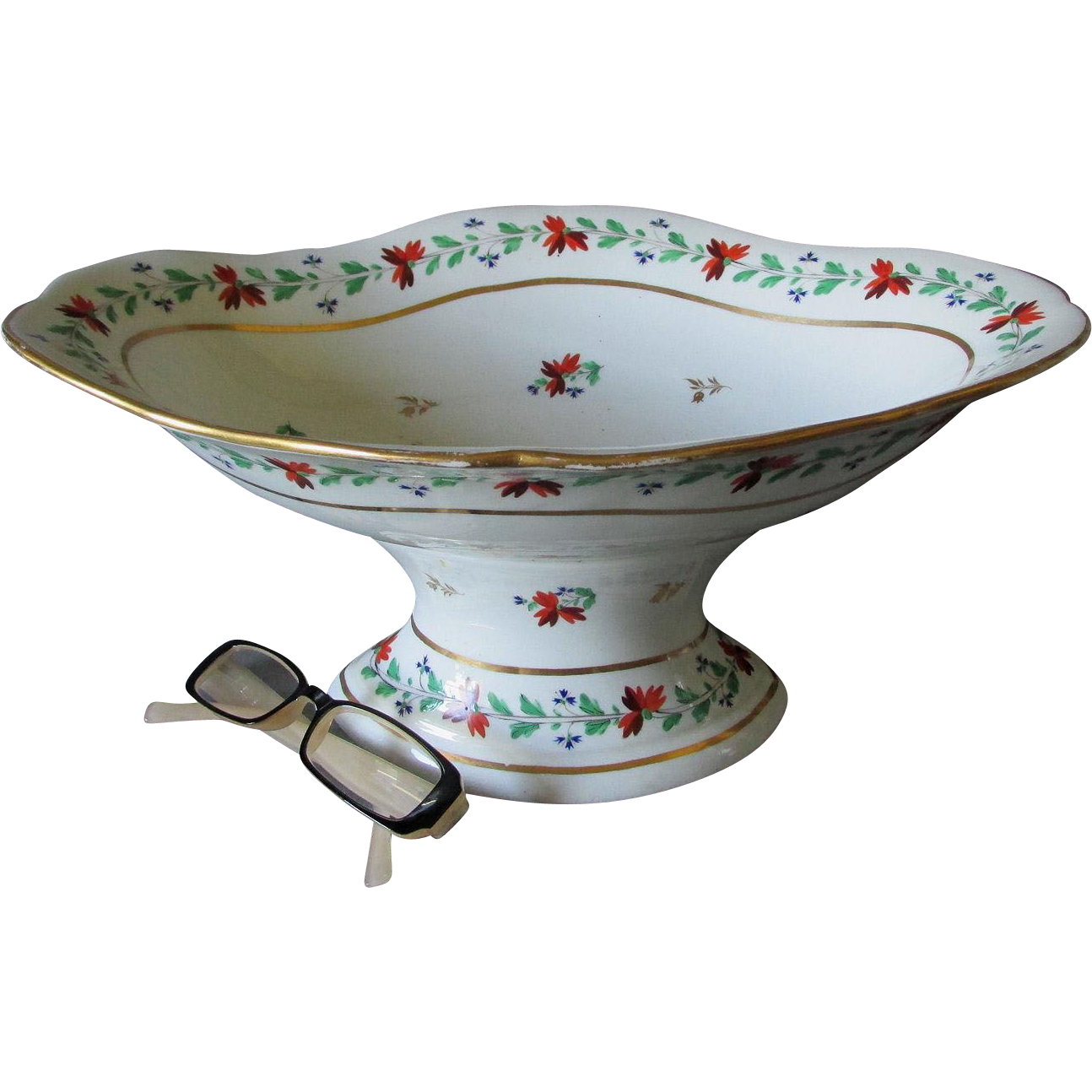 c1820s English Derby Soft Paste Footed Bowl, Serving Dish