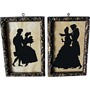 Pair  Hand Painted Silhouettes of Couples Dancing