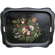 Lovely 19thC Hand Painted Floral Toleware, Tole Tray