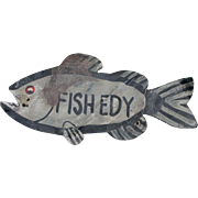 Neat c1920-30s Tin Folk Art Fish Edy Sign in Original Paint