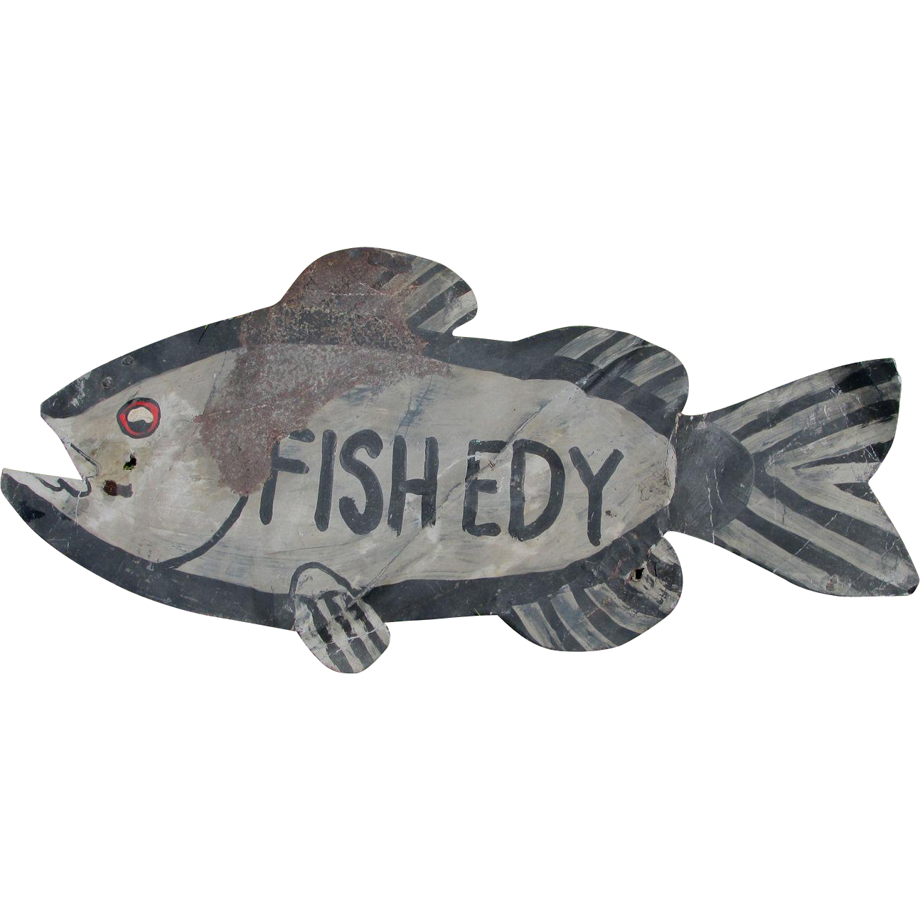 Neat c1920-30s Tin Folk Art Fish Edy Sign in Original Paint