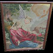 19thC Victorian Needlepoint Petitpoint Tapestry Angel & Jesus