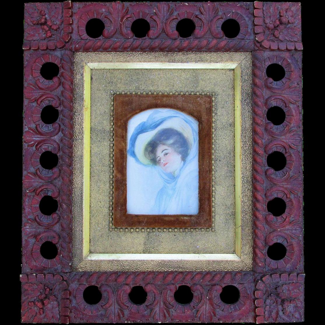 c1880 Victorian Aesthetic Gilt Gold & Velvet Picture Frame