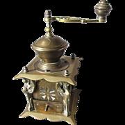 Rare Antique Bronze European Coffee Mill Grinder with Sphinx