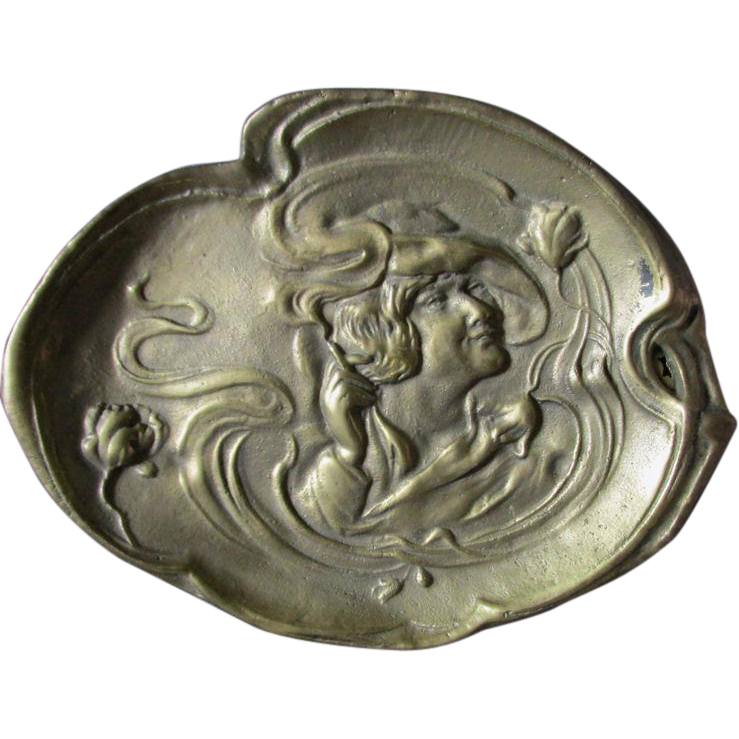 Art Nouveau Brass Vanity Tray with a Lady Smoking, Suffrage