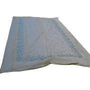 Elegant 1950s Italian Silk Taffeta Embroidered Fabric Sample, Bedspread