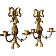 Lovely Pair Hand Carved Italian Gilt Gold Candle Sconces, Candlesticks