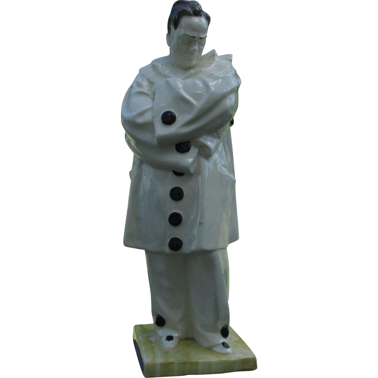 Rare Antique Faience Figurine of Pierrot, Enrico Caruso as Canio