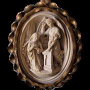 Lovely 19thC Sculpture, Plaque of a Saint & Angel