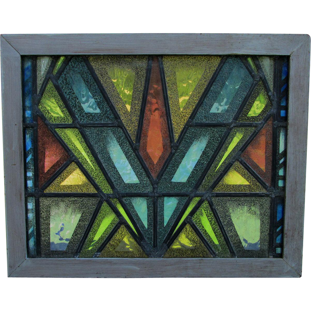Cool mid century modern stained glass window from for Contemporary stained glass