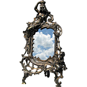 Antique Victorian Mirror or Picture Frame with Queen & Cherub