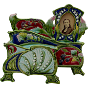 Rare c1890 Art Nouveau Majolica Desk Letter Holder & Picture Frame