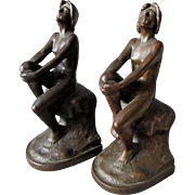 Rare c1920s Art Nouveau, Art Deco Armor Bronze Nude Lady Bookends