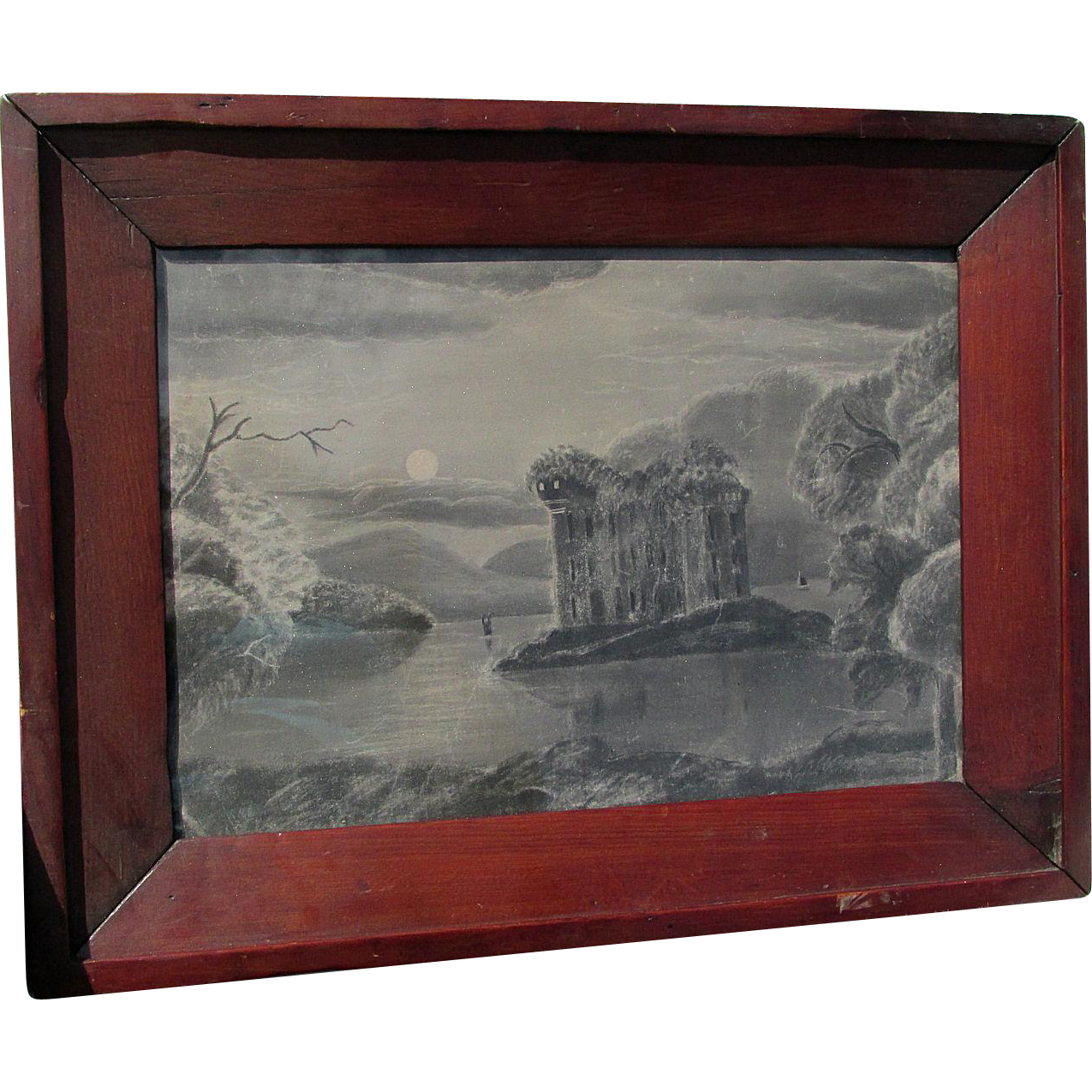 Ethereal Landscape, Folk Art Sandpaper Charcoal Drawing  in Ogee Frame