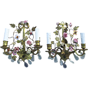 Lovely Pair French Gilt  Flower Basket Light Sconces, Porcelain Flowers