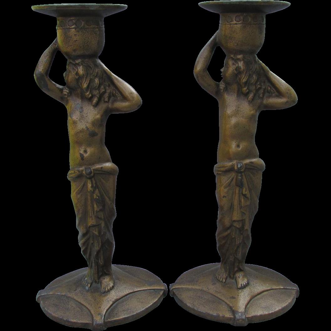 c1923 Art Deco Nude Candlesticks Decorative Arts League NY