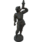 Antique Figural Soldier Cigar Lighter, Gas Lamp Figurine