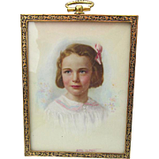 Pretty Miniature Painting, Little Girl Listed Artist, Aime Dupont