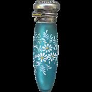c1890s Victorian Perfume Bottle, Blue Satin Glass with Enamel