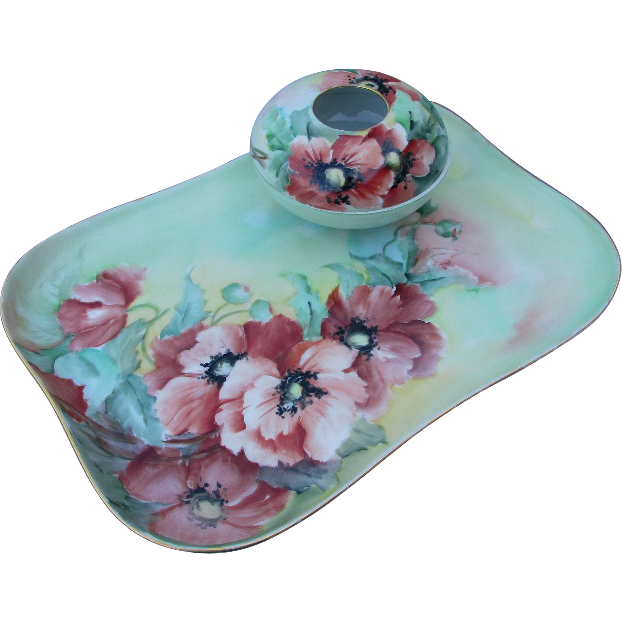 Antique French Limoges Hand Painted Vanity Set Perfume Tray, Hair Receiver