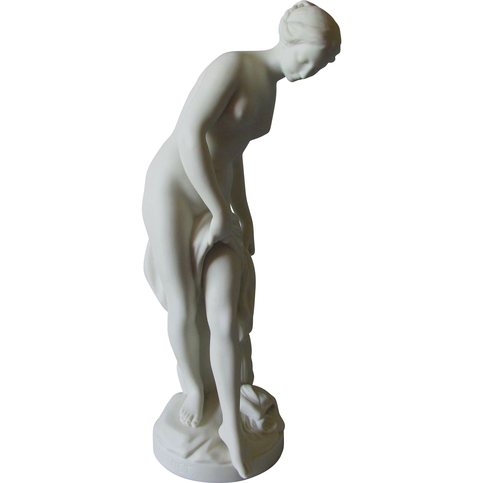 19thC Victorian Parian Porcelain Figure, Nude Venus after P. Falconet 1858