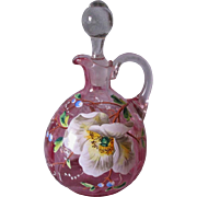 Lovely Antique Cranberry Glass Cruet with Enamel Flowers